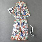 vintage womens skirts dress long dress blue and white V collar print flower new