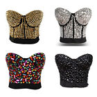 Lady Sequin Crystal Rivet Style Wrap Chest Lingerie Bra KTV Stage Costume Party