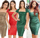 Womens Sequin Party Dress Sexy Bodycon Rouched Evening Cocktail Midi Dresses