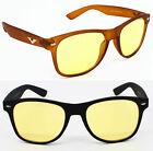 Quality Unisex Square Night Driving Yellow Lens Sunglasses Glasses Night Vision
