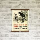 WWII London Evacuation Poster Print with Oak Hanger