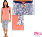 New Ladies Pyjamas Coral Top Navy Paisley 3/4 Bottoms Cotton 8-10 12-14 16-18