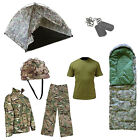 Kids Combat Adventure Sleepover Army Military Tent & Sleeping Bag Dress Up Set S