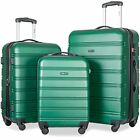 Merax ABS Travel Luggage Set 3 Pieces Expandable Lightweight Spinner  Suitcase