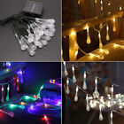 Solar Outdoor String 20/30 LED Water Drop Waterproof Festival Lights Xmas Party