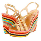 NEW Kate Spade Wedges Shoes Lindsay Multi-Color 6.5 Patent Leather Bone