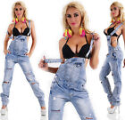 Washed Look Destroyed Ripped Torn Denim Dungarees Straight Leg Jeans Size 10