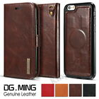Luxury Genuine Leather Flip Wallet Case Magnetic Cover For iPhone & Samsung