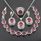 FAHOYO 2017 New Red Ruby CZ 925 Sterling Silver Women Jewelry Sets QS0101