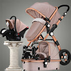 3 in 1 Pro Foldable Baby Stroller High View Pram Pushchair Bassinet&Car Seat New
