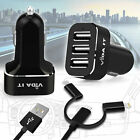 Super Fast 5.2A 26W 3 in 1 USB Port Car Charger For Cell Phone Tablet High Power
