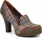 Ruby Shoo KAYLEE Houndstooth Vintage Wool Classic Retro PUMPS Rockabilly