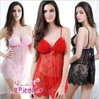 Hot Sexy Babydoll Satin Bow Chemise Ruffle Bra Top Eyelash Lace Gowns Dress Set