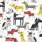 MAKOWER PATCH DOG - DOGS MAIN - 100% COTTON FABRIC quilting patchwork white