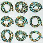 Multi-Shape Blue Mosaic Turquoise Round Beads Gemstone 4mm -20mm