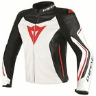 Dainese Assen Mens Leather Motorcycle Jacket White/Black/Lava Red