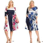 Plus Size Dress Fit Flare Pink Navy Magenta Floral Midi Cocktail Party Womens
