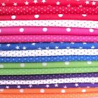 POLKA DOTS & STARS POLY COTTON FABRIC - ALL COLOURS star spot dotty red purple