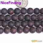 Natural Round Red Garnet Gemstone Frost Matte Stone Beads For Jewelry Making 15""