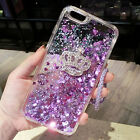 Bling Glitter Purple Quicksand crown Soft Dynamic Phone Cover Case & neck strap