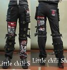 UNISEX INDUSTRIAL EMO BONDAGE Punk Rock visual KEI Trousers PANTS+Bags Black