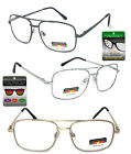 Multi Focus + Reading Glasses 3 Strengths in 1 Reader Large Square Metal Frame