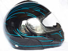 FLIP FRONT MOTORCYCLE CRASH HELMET BLACK/BLUE S,M,L,XL DISCOUNTED PRICE