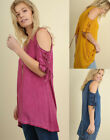 UMGEE Lace-Up Sleeve Cold Shoulder Long Tunic Swing Trapeze Boho Loose Knit Top