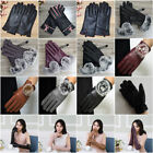 Leather PU Keep Warm Faux fur Windproof Motorcycle Cycling Car Gloves Mittens