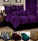 black comforter sets queen - Linen-Plus-Collection Patchwork Micro Suede Comforter Set All Sizes