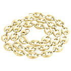 Real 10K Yellow Gold 3D Hollow Puff Gucci Link Chain 12mm Necklace 22-30 Inches