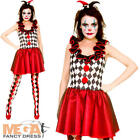 Harlequin Jester Ladies Fancy Dress Halloween Medieval Womens Adults Costume New