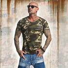Neues Yakuza Herren Basic Line Long Tail V-Neck T-Shirt - Camouflage