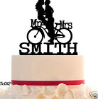 Wedding CakeTopper Mr and Mrs  With Your Last Name and Bike removable Spikes