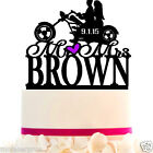 Wedding Cake Topper Bike couple riders with Your LAST NAME and color choice