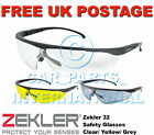 Zekler 32 Safety Protective Glasses Sports Design PPE Clear Yellow Grey