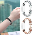 Diamante Pony Link Stainless Steel Bracelet Wristband+Adapter For Fitbit Alta/HR