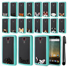 For ZTE N817 Quest Uhura Animal Clear Teal Bumper Protective Case Cover + Pen