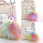 UNICORN HORSE POM POM CELL PHONE CAR KEYCHAIN PENDANT HANDBAG KEY RING CHAIN UK