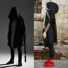Punk Men's Cardigan Hooded Long Cloak Cape Coat Loose Casual Slim Fit Jacket US