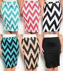 Black White Teal Coral Khaki Chevron Wiggle Pencil Bodycon Fitted Skirt Plus