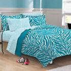 NEW Exotic Zebra Aqua White Microfiber Teen Bedding Comforter Sheet Set