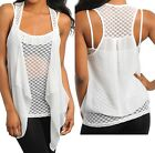 Off White Chiffon Cardigan Cover-Up w/ Attached Mesh Dot Print Cami Top Layered
