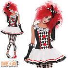 Harlequin Honey Ladies Halloween Fancy Dress Circus Womens Jester Adult Costume