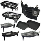 Fire Grate Cast Iron Solid Fuel Black Fireside Fireplace Log Basket Fret Set