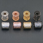 Crystal Zircon Gemstone Pave Cylinder Tube Bar Bracelet Connectore Charm Bead