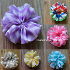 13PCS Kids 6.5cm DIY Print shabby Chiffon Flowers Hair accessory With/NO clip