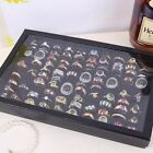 Jewelry Box Ring Display Case Organizer Storage Velvet Tray Holder Clear Top