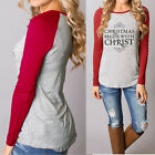 Clothing plus womens - USA Women Christmas Casual T-Shirts Cotton Long Sleeve Tops Blouse Plus Size