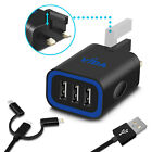 Rapid Speed 3.1A Multi Port USB UK Plug Wall Charger Smart IC + Charging Cable